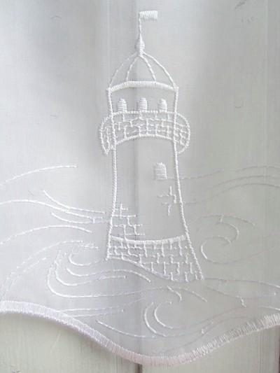 scheibengardine wei leuchtturm maritim nordisch 45 cm ebay. Black Bedroom Furniture Sets. Home Design Ideas