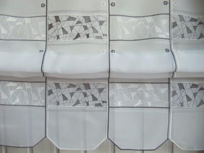 raffrollo grau weiss 145 hoch fenstefertig gen ht von breite ab 16 cm bis 160 cm. Black Bedroom Furniture Sets. Home Design Ideas