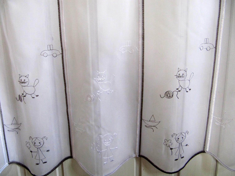 Scheibengardine kinder grau wei 45 oder 60cm h br ab 1 for Scheibengardine kinder