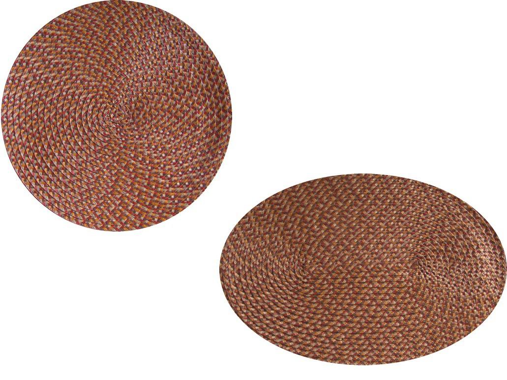 Tischset Platzmatte rund oder oval Orange meliert geflochten Mandala ca 45x30