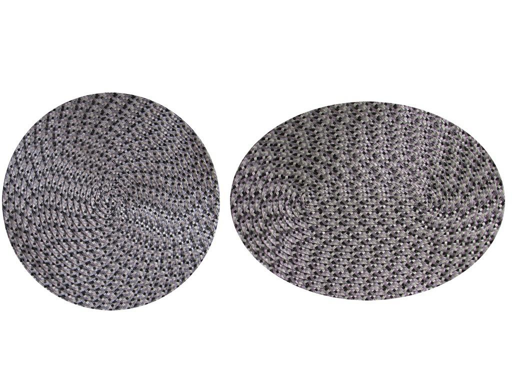 Tischset Platzmatte rund oder oval Schwarz meliert geflochten Mandala ca 45x30