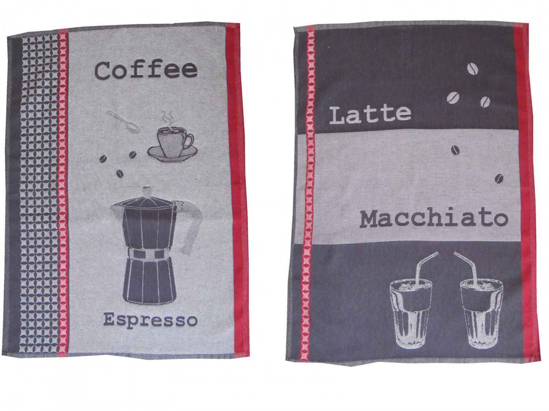 geschirrtuch 2 er set motiv kaffee espresso latte macchiato 100 baumwolle grau dunkelrot. Black Bedroom Furniture Sets. Home Design Ideas