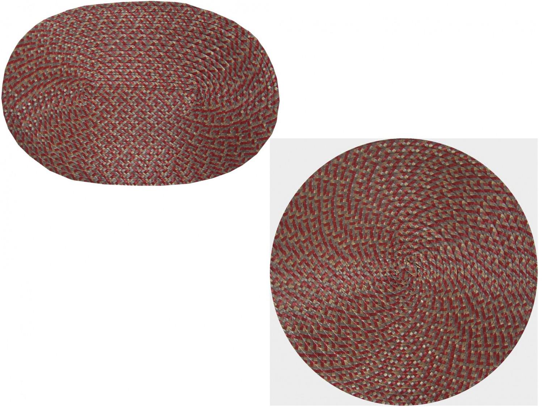 Tischset Platzmatte rund oder oval Rot meliert geflochten Mandala ca 45x30