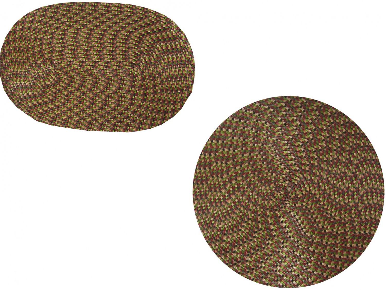 Tischset Platzmatte rund oder oval Olivgrün meliert geflochten Mandala ca 45x30
