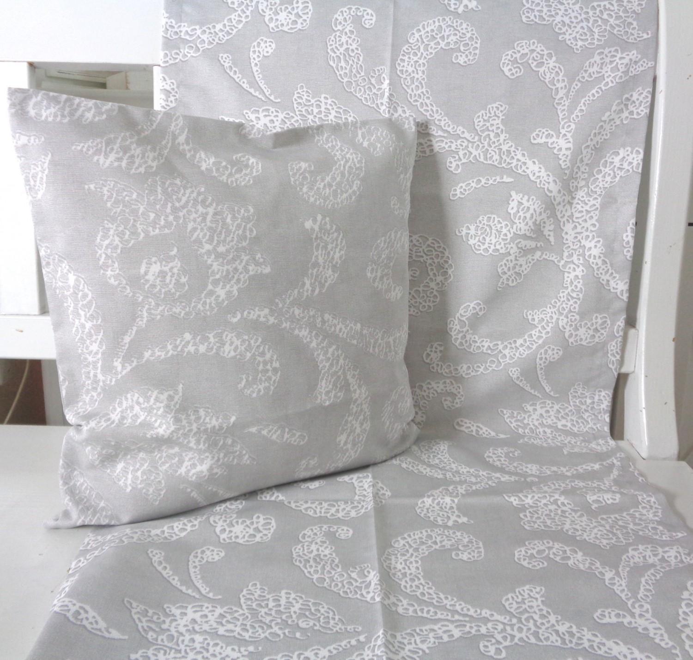 kissen dekoskissen grau weiss ranken 40x40 ohne f llung. Black Bedroom Furniture Sets. Home Design Ideas