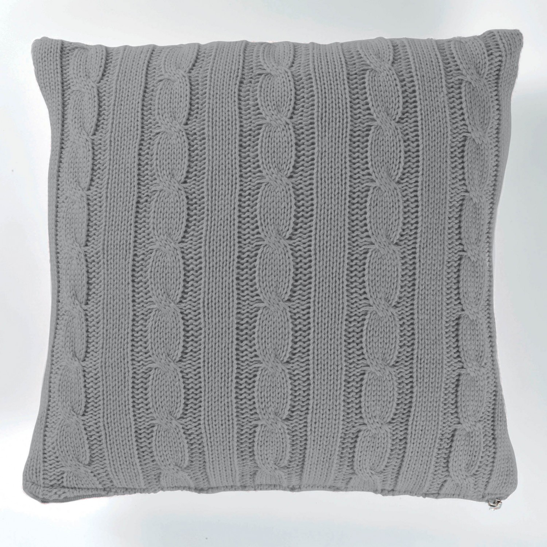 kissenh lle strick zopfmuster 40x40 grau wei0 oder rosa ebay. Black Bedroom Furniture Sets. Home Design Ideas