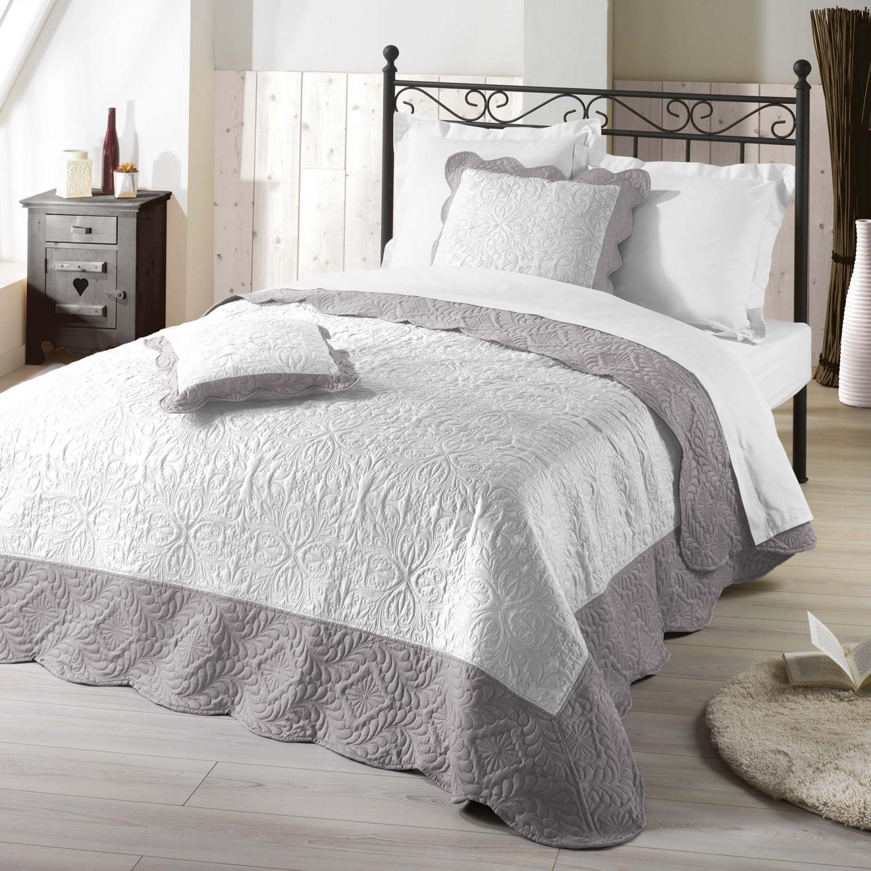 kissenh lle wei grau romantik vintage gesteppt 45x45 oder. Black Bedroom Furniture Sets. Home Design Ideas