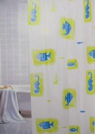 duschvorhang fische vinyl 180x180 m ringen. Black Bedroom Furniture Sets. Home Design Ideas