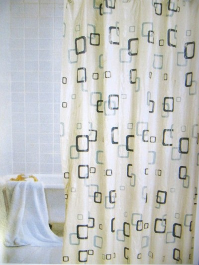 duschvorhang weiss blau vinyl 180x180 m ringen. Black Bedroom Furniture Sets. Home Design Ideas