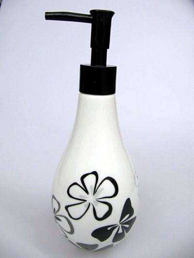 seifenspender schwarz wei keramik margarita. Black Bedroom Furniture Sets. Home Design Ideas