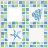 duschvorhang blau gr n mosaik vinyl 180x180 m ringen. Black Bedroom Furniture Sets. Home Design Ideas