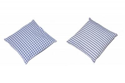 kissenh lle landhaus blau weiss karo oder streifen 40x40. Black Bedroom Furniture Sets. Home Design Ideas