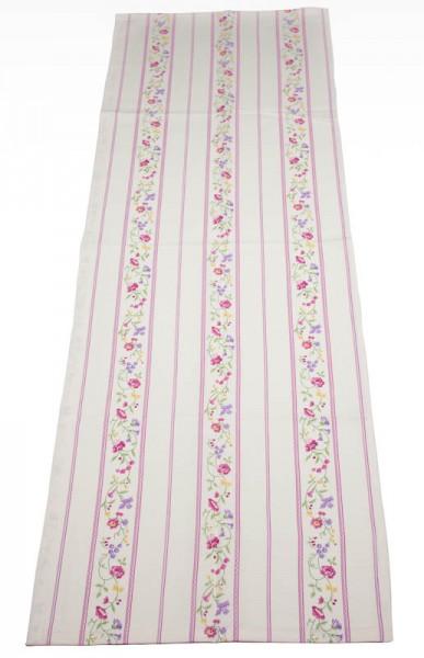 Tischläufer Landhaus Streifen Blumen 50x150