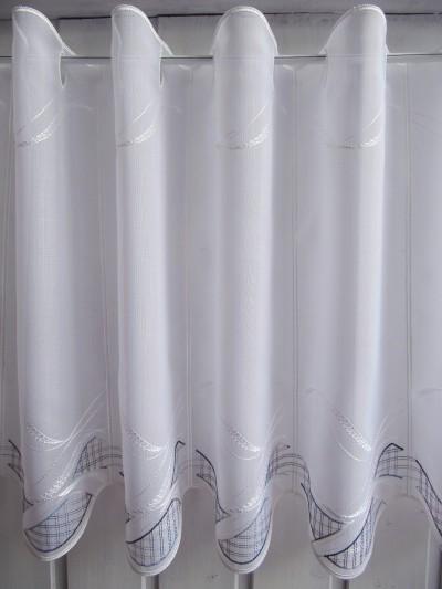 Scheibengardine Weiß Blau Karo 45 cm Hoch