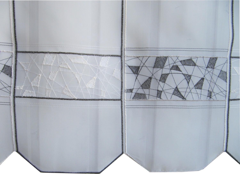 scheibengardine wei schwarz mosaik stick muster 45 cm hoch. Black Bedroom Furniture Sets. Home Design Ideas