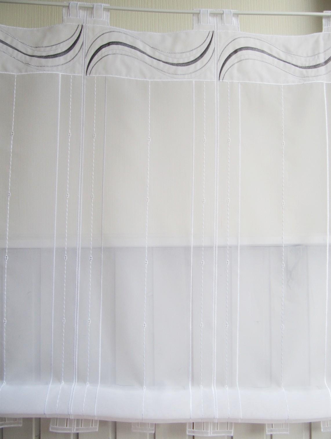 raffrollo grau weiss 145 hoch fenstefertig gen ht von breite ab 29 5 cm bis 206 cm. Black Bedroom Furniture Sets. Home Design Ideas