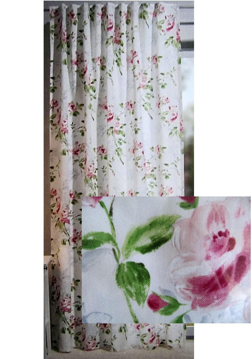 gardine dekoschal landhaus rosen nancy h he 245. Black Bedroom Furniture Sets. Home Design Ideas
