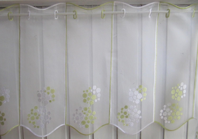 scheibengardine wei gr n modern stick 45 oder 60 cm h he. Black Bedroom Furniture Sets. Home Design Ideas